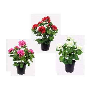 Set 3 Geranium In Black Pot Assort Tree Plant Fake Floral Artificial 20x39cm