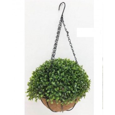 Faux Hanging Topiary Plant In Basket Plant Fake Floral Artificial Green 20x54cm