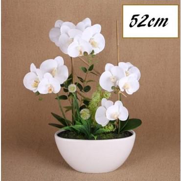 Faux Orchid Plant W/ Ceramic Pot Plant Fake Floral Artificial White 30x52cm