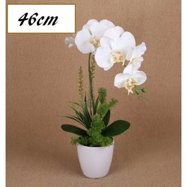 Faux Orchid Plant In Plastic Pot Plant Fake Floral Artificial White 20x46cm
