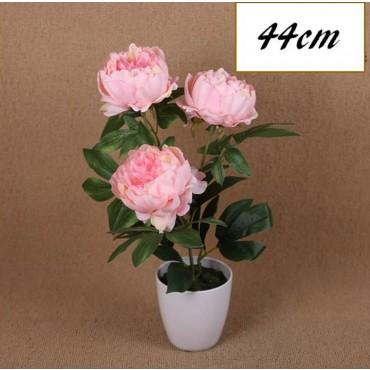 Faux Peony Plant In Plastic Pot Plant Fake Floral Artificial White 20x44cm