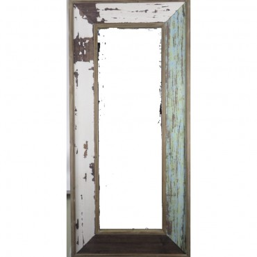 Rectangle Wall Mirror Timber and Glass Hanging Art Framed Bathroom 65x130cm
