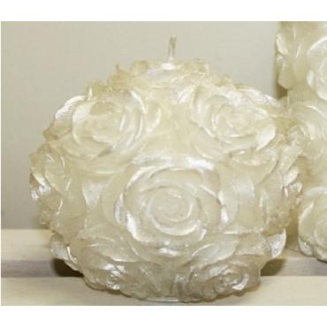 bulk 24 Deluxe Flower Candle Ball Wedding Wax Cream 8x8cm