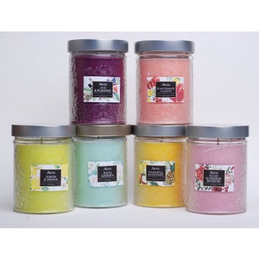 bulk 12 Carved Glass Jar Scented Candle 300G 6 Assorted Wedding Wax 7x8cm