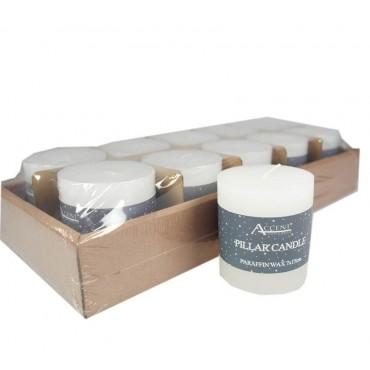 bulk 40 Rustic Pillar Candle Unscented Wedding Wax White 7x7.5cm