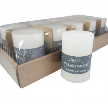 bulk 40 Rustic Pillar Candle Unscented Wedding Party Wax White 7x10cm