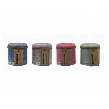 bulk 48 Rustic Pillar Candle Scented Wedding Party 4 Assort 7x7cm