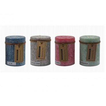 bulk 36 Rustic Pillar Candle Scented Wedding Party 4 Assort 7x9cm