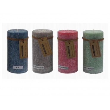 bulk 24 Rustic Pillar Candle Scented Wedding Party 4 Assort 7x14cm