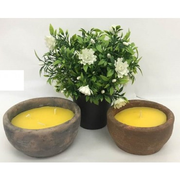 bulk 12 Citronella Candle In Antique Finish Pot Wedding Party Wax Yellow 14x7cm