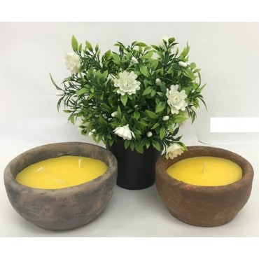 bulk 16 Citronella Candle In Antique Finish Pot Wedding Party Wax Yellow 12x6cm