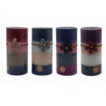 bulk 24 4 Tone Scented Pillar Candle 4 Assort Wedding Party Tapered Fragrance 7x15cm