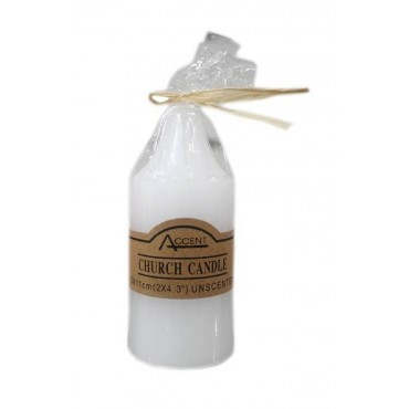 bulk 48 Church Pillar Candle Unscented Wedding Wax White 5x11cm
