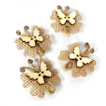 bulk 36tural Hessian Butterfly Party Wedding Plastic 3x3cm