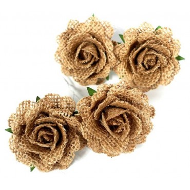 bulk 144 Natural Hessian Rose Bud Party Wedding Mdf Plastic 4x4cm