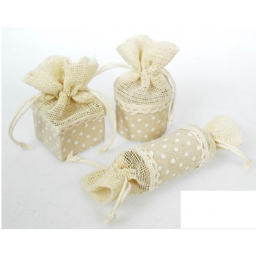 bulk 72 Linen Polka Dot Print Pouch Assorted Party Wedding Linen Polka 4x4cm