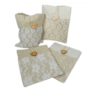 bulk 36 Linen & Lace Pouch Assort Party Wedding Linen 11x14cm