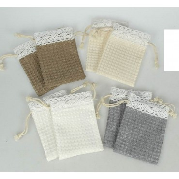 bulk 72 Waffle Fabric & Lace Pouch 4 Assorted Party Wedding Fabric 7x10cm