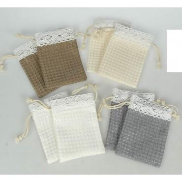 bulk 36 Waffle Fabric & Lace Pouch 4 Assort Party Wedding Fabric 7x10cm