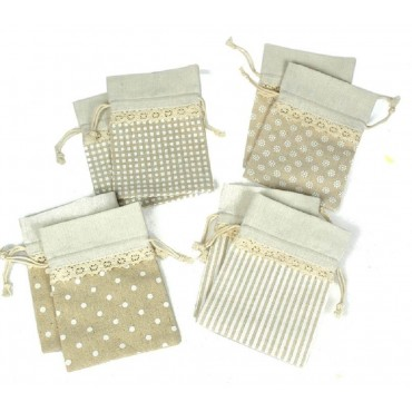 bulk 72 Linen & Lace Pouch 4 Assorted Party Wedding Fabric 10x13cm
