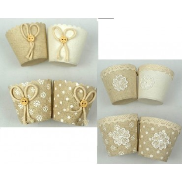 bulk 72 Mini Bow & Lace Bomboniere Favor Cup Party Wedding Linen 3x5cm
