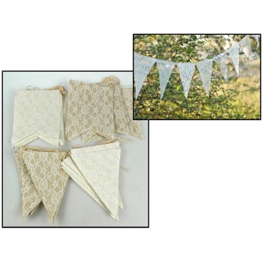 bulk 36 Linen & Lace Bunting Garland 2 Assort Party Wedding Fabric 7x180cm