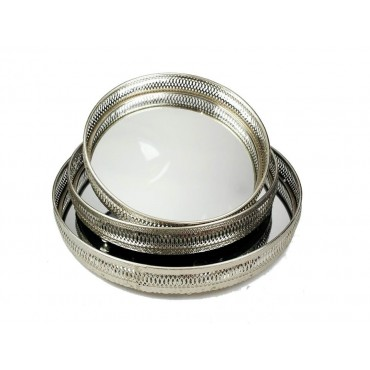 Set 3 Round Moroccan Tray W Mirror Fruit Platter Serving Holder Silver 35x6cm