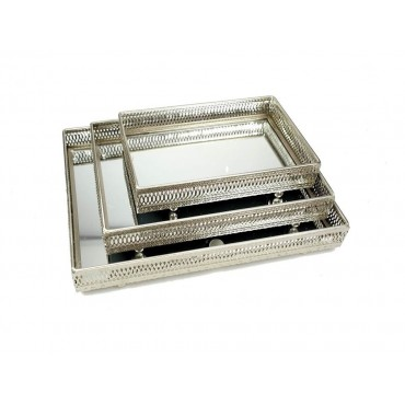 Set 3 Rectangle Moroccan Tray W Mirror Fruit Platter Serving Holder Silver 34x6cm