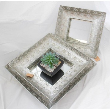 Set Of 3 Square Moroccan Tray W Mirror Fruit Platter Serving Holder Silver 49x11cm