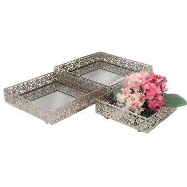 Metal Set 3 Square Mirror Tray Fruit Platter Serving Holder Metal Silver 30x6cm