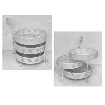 3 Tiered Serving Platter Movable Fruit Platter Serving Holder Metal White 40x33cm