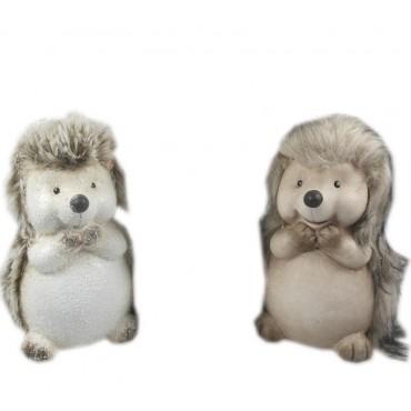 bulk 12 Standing Hedgehog 2 Assort Garden Ornament Figurine Fabric 10x16cm