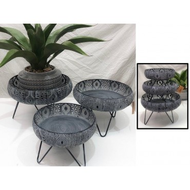 Set Of 3 Moroccan Tray On Stand Fruit Platter Serving Holder Metal Grey 38x25cm