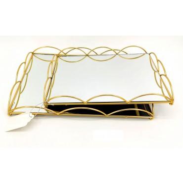 Set 2 Rectangle Tray W Mirror Base Fruit Platter Serving Holder Gold 40x5cm