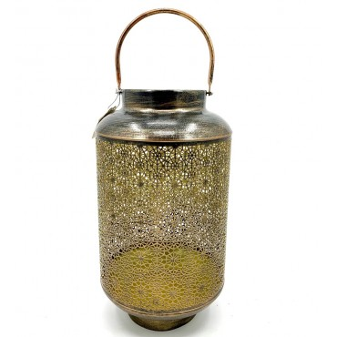 Round Moroccan Lantern Candle Holder Tealight Lamp Metal Bronze 25x43cm