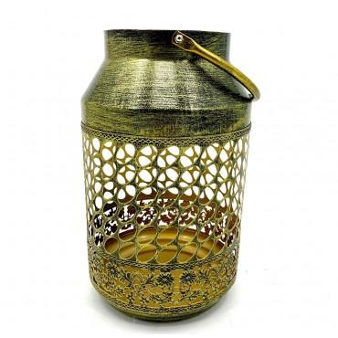 Round Moroccan Lantern Candle Holder Tealight Lamp Metal Bronze 18x30cm