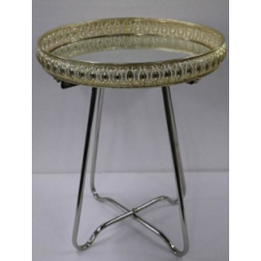 Round Table Tray Top Table W Mirror Fruit Platter Serving Holder Gold Silver 44x52cm