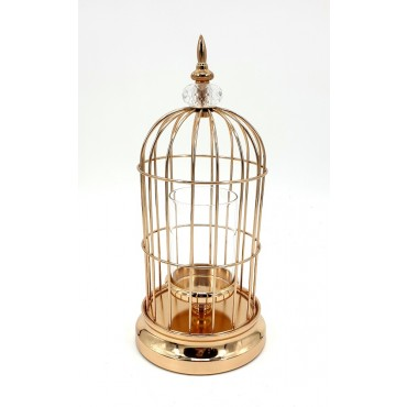 Bird Cage W/ Diamant Top Candle Holder Lantern Tealight Lamp Metal Gold 14x36cm