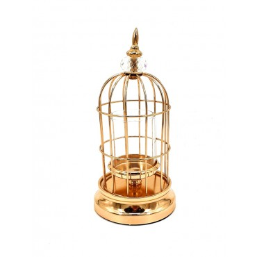 Bird Cage W/ Diamant Top Candle Holder Lantern Tealight Lamp Metal Gold 12x31cm