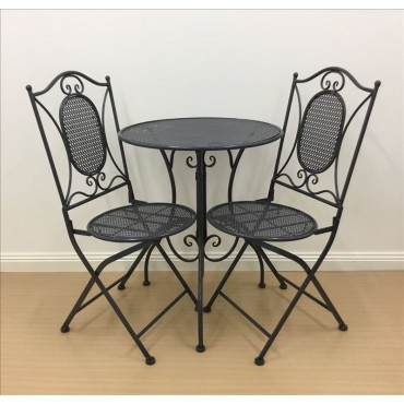 Vincent 3Pc Setting Table Chair Patio Garden Outdoor Metal Dark Grey 60x70cm