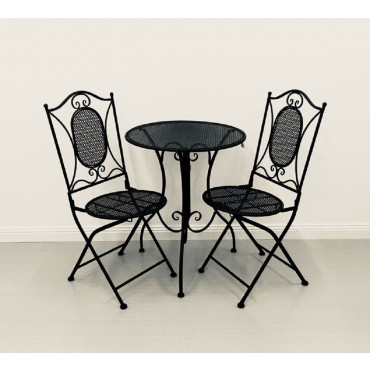Vincent 3 Piece Bistro Table Chair Setting Patio Garden Outdoor Black 60x70cm
