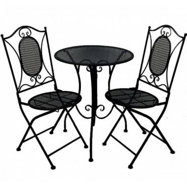 Vincent 3Pc Setting Table Chair Patio Garden Outdoor Metal Matte Black 60x70cm