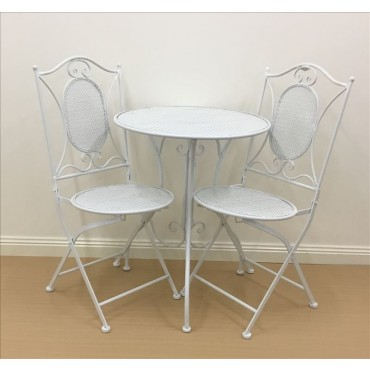 Vincent 3Pc Bistro Table Chair Setting Patio Garden Outdoor Metal White 60x70cm