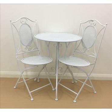 Vincent 3Pc Setting Table Chair Patio Garden Outdoor Metal Matte White 60x70cm