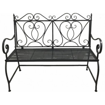 Ali Bench Seat Chair Outdoor Garden Patio 2 Seater Metal Grey 114x99cm