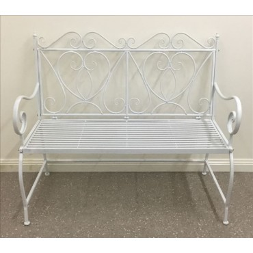Ali Garden Bench Metal Seat Chair Outdoor Garden Patio 2 Seater White 114x99cm