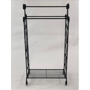 Bulk 2 Dux Towel Rail Bathroom Hanger Rack Holder Metal Black 50x99cm