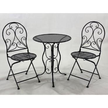 Hola 3 Piece Setting Table Chair Patio Garden Outdoor Metal Grey 60x71cm