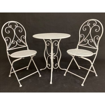 Hola 3 Piece Setting Table Chair Patio Garden Outdoor Metal White 60x71cm