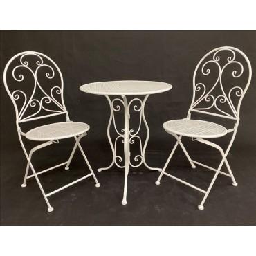 Hola 3 Piece Setting Table Chair Setting Patio Garden Outdoor White 60x71cm